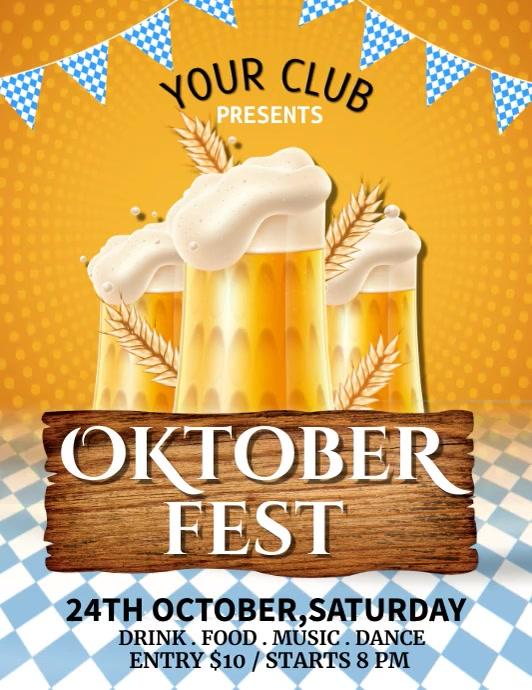 Oktoberfest, Bar Flyer, Cocktail Party ใบปลิว (US Letter) template