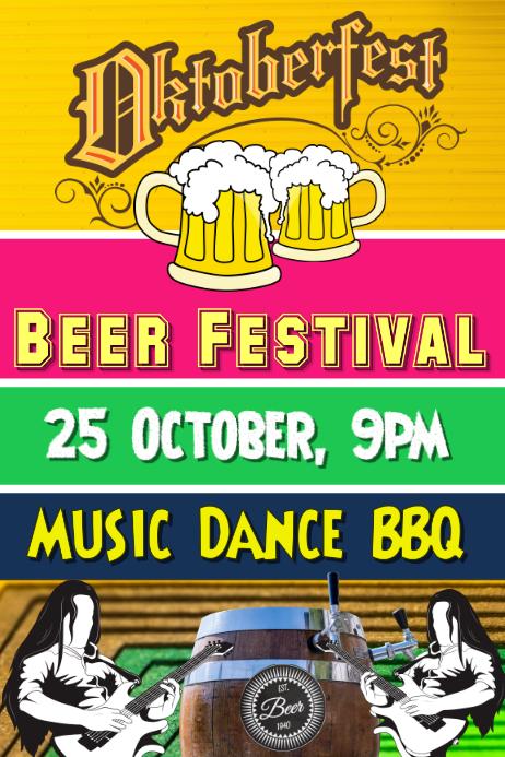 Oktoberfest, beer festival flyer poster