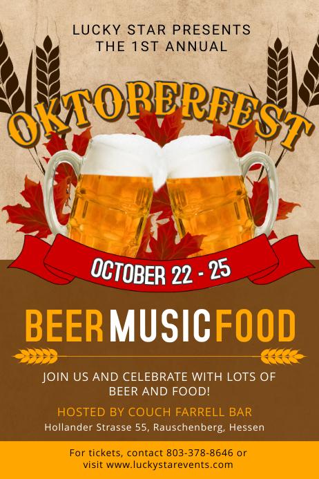 Oktoberfest Beer and Music Event Poster Template Cartaz