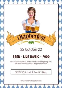 Oktoberfest Beer Garden Event Dirndl Advert A4 template