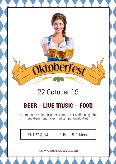 Oktoberfest Beer Garden Event Dirndl Advert A4 template