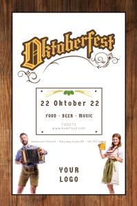 Oktoberfest Beer Garden Event Poster Advert Плакат template