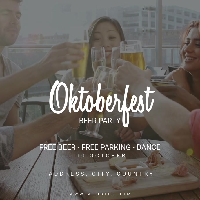 Oktoberfest Beer Party Square (1:1) template