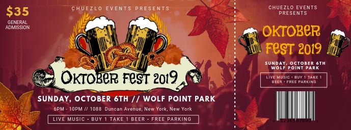 Oktoberfest Fun Party Ticket Template Фотография обложки профиля Facebook