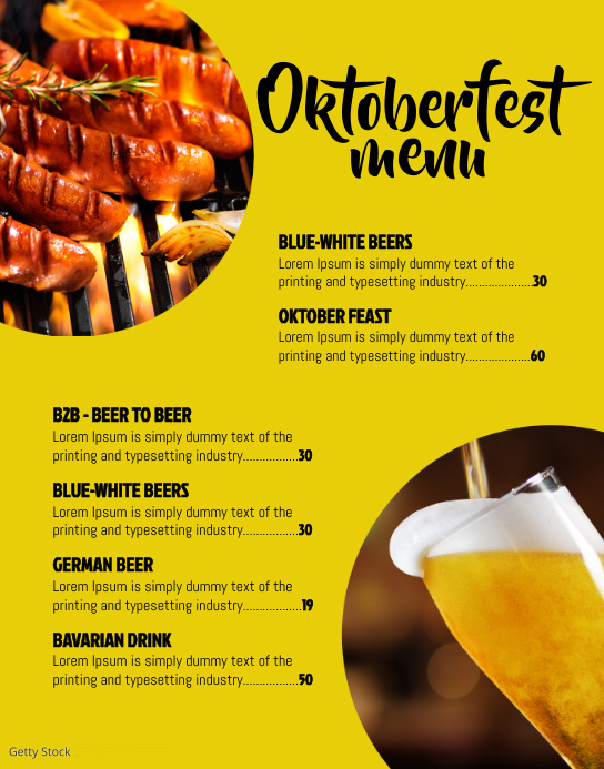Oktoberfest menu Poster/Wallboard template