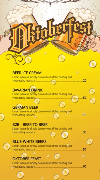 Oktoberfest menu Digitalt display (9:16) template