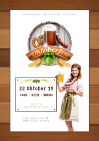 Oktoberfest October Party German Beer Garden A4 template