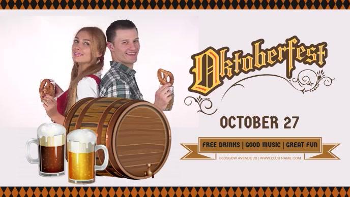 Oktoberfest Party Flyer Video Sampul Facebook (16:9) template