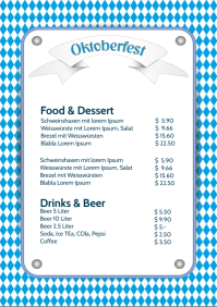 Oktoberfest Price List Party event beer A4 template