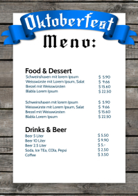 Oktoberfest Price List Party event beer food A4 template