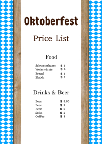 Oktoberfest Price List Party event Flyer beer