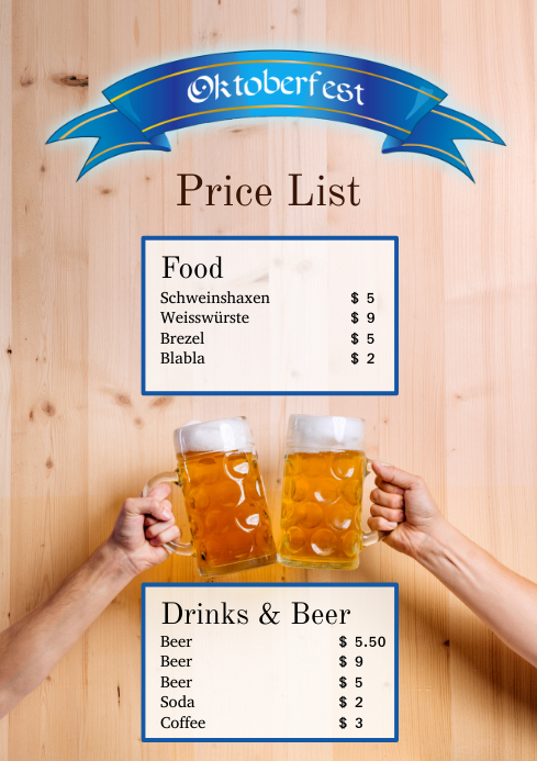 Oktoberfest Price List Party event Flyer beer A4 template
