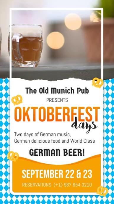Oktoberfest Pub Celebration Video Template 数字显示屏 (9:16)