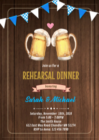 Oktoberfest rehearsal dinner invitation A6 template