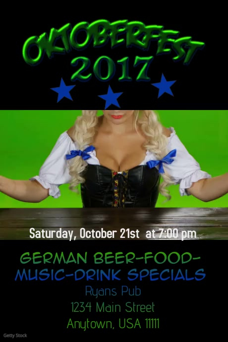 Oktoberfest Video Flyer โปสเตอร์ template