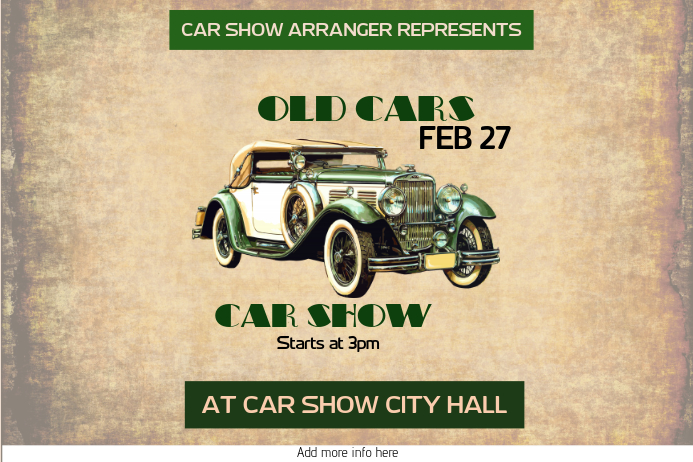 old car vintage retro car show poster template - landscape Cartaz