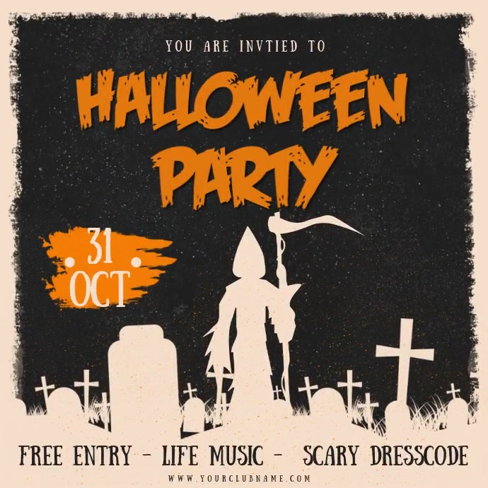 Old Fashioned Halloween Party Animation Instagram 帖子 template