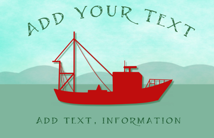 old fashioned red fishing boat on the ocean Template | PosterMyWall