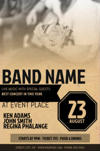 old grunge retro country guitar concert flyer template