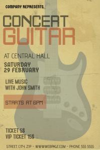 old indie guitar concert flyer template