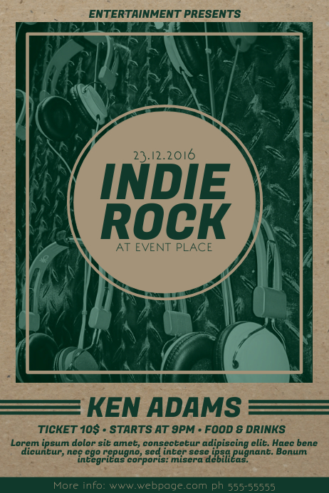 old Indie Rock Music Flyer Template Poster