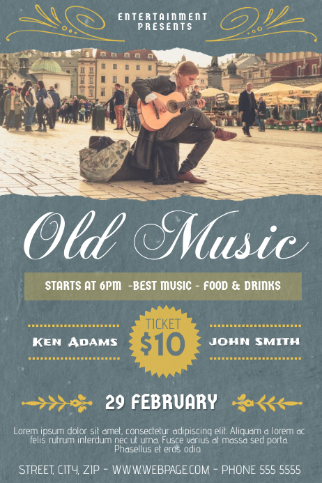 Old music Indie Street style concert band flyer template