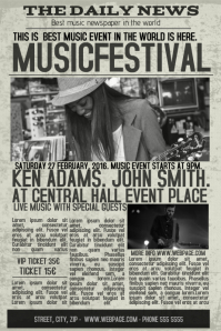old newspaper concert event flyer template newsletter Poster