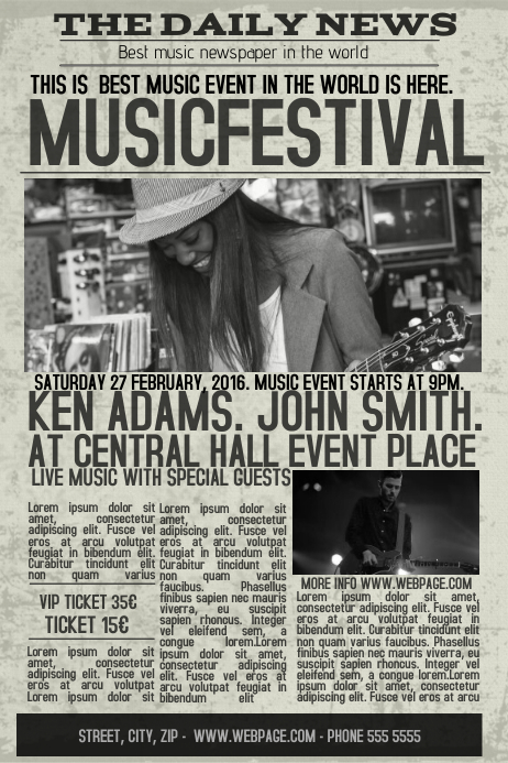 old newspaper concert event flyer template newsletter postermywall