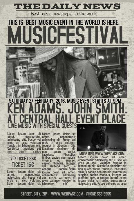 old newspaper concert event flyer template newsletter