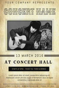 old retro indie band country folk concert flyer template