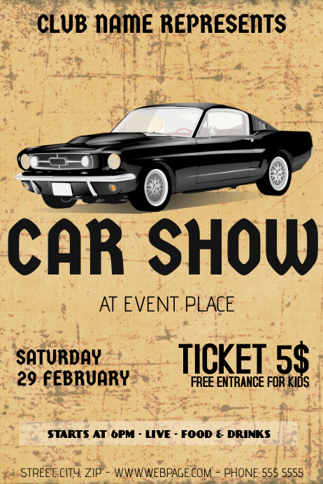 Old Retro Vintage Car Show Flyer Template PosterMyWall - Car show flyer background