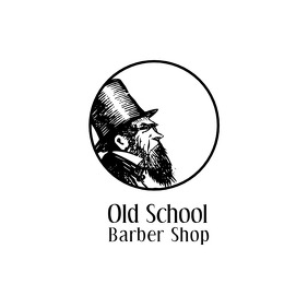 Old school barber shop logo template