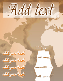 old ship sailing on world map