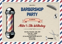 Old style barbershop birthday invitation A6 template