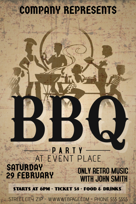 old vintage barbecue party flyer template