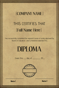 old vintage certificate diploma template
