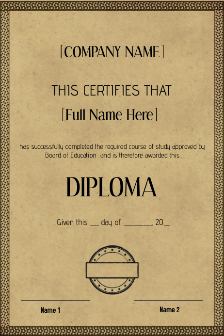 old vintage certificate diploma template | PosterMyWall