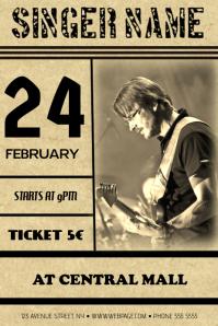old vintage guitar concert band flyer template