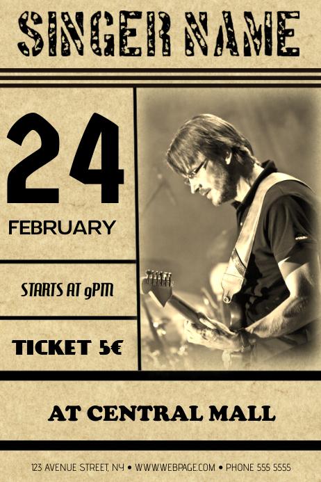 old vintage guitar concert band flyer template Poster