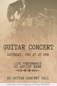 old vintage guitar concert flyer template