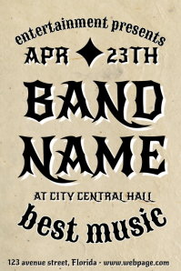 old vintage indie rock style poster flyer template