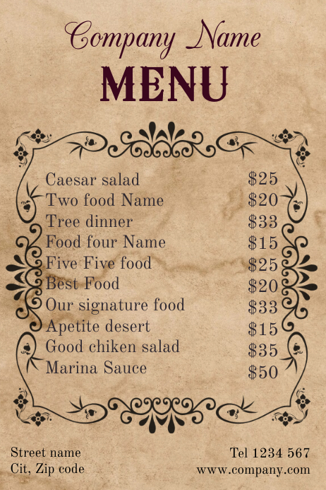 Vintage Restaurant New Market Menu