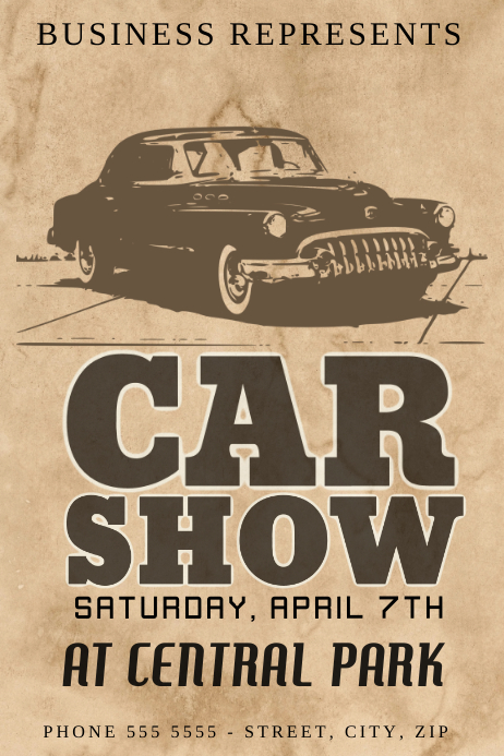 Old Vintage Retro American Car Show Flyer Template | Postermywall