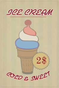 old vintage retro ice cream sale flyer template