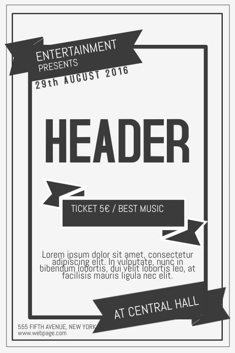 old vintage retro indie concert band poster flyer template