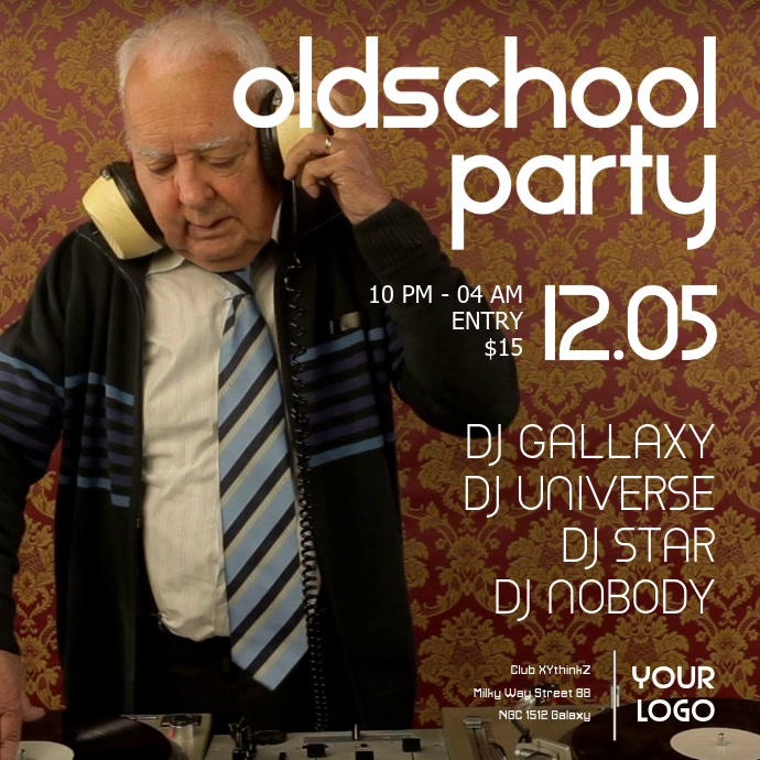 oldschool party retro oldies event music funny grandpa dj