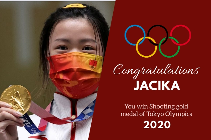 Olympic gold wish Banner 4' × 6' template