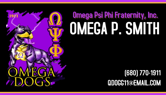 Omega psi phi fraternity Business Card 名片 template