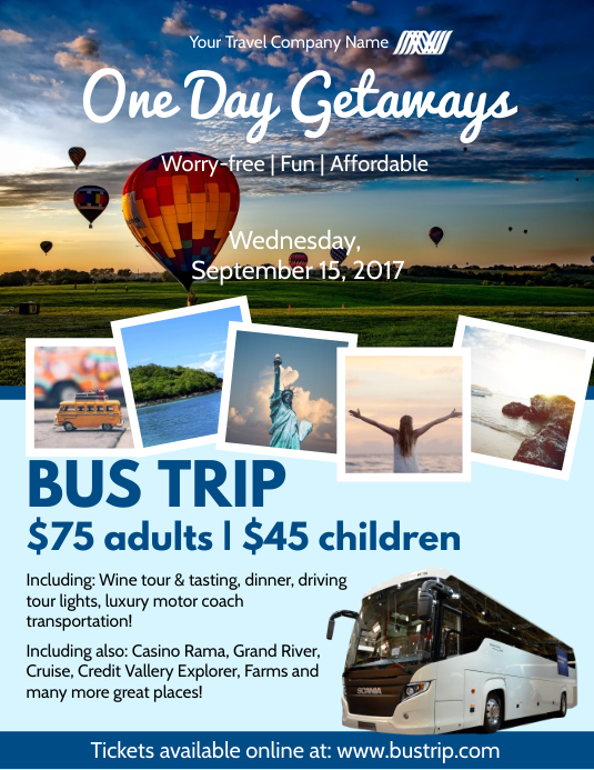 One Day Bus Trip Flyer Template Postermywall