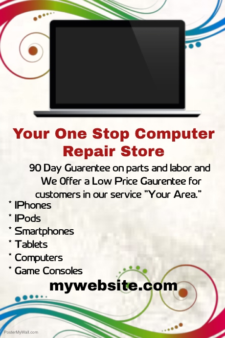 One Stop Computer Repair Store Template | PosterMyWall